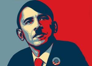 Imagen extendida en la oposición estadounidense: Adolf Obama. Fuente: Fresh Conservative