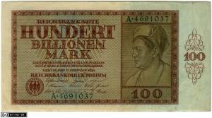 Billete de cien billones de marcos (1924). Fuente: Staatliche Museen zu Berlin.