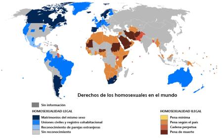 Derechos de los homosexuales en el mundo. Fuente: El Mundo.