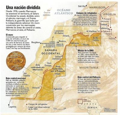 Mapade la división del territorio del Sáhara Occidental. Fuente: Nos Digital http://bit.ly/12WRUwp