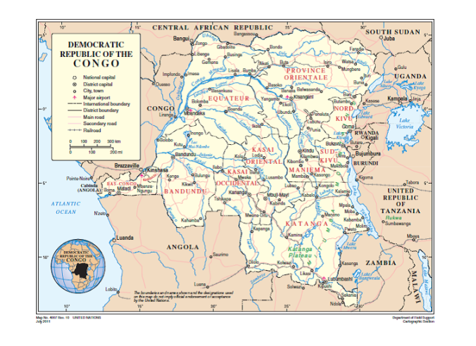 RD CONGO UN MAP JULY 2011