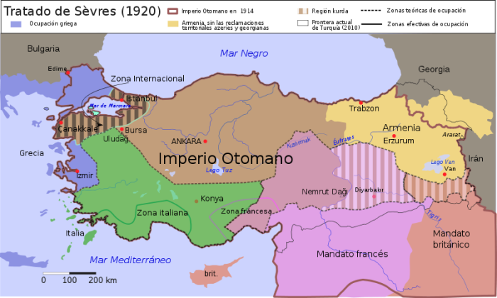 Imperio Otomano y frontera actual de Turquía. | Fuente: Wikipedia.