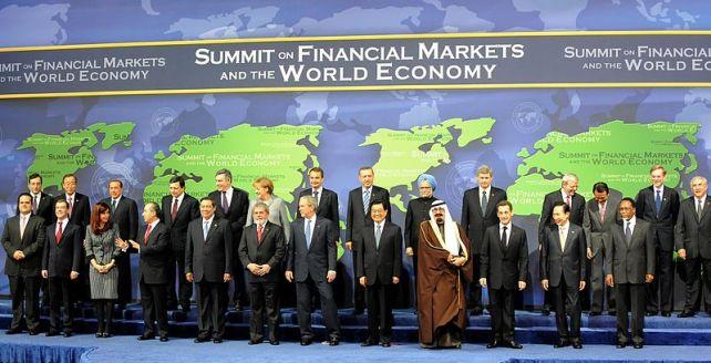 Cumbre del G-20 celebrada en Washington en 2008. Kirschner fue la única mujer que asistió | Fuente: Dexxter