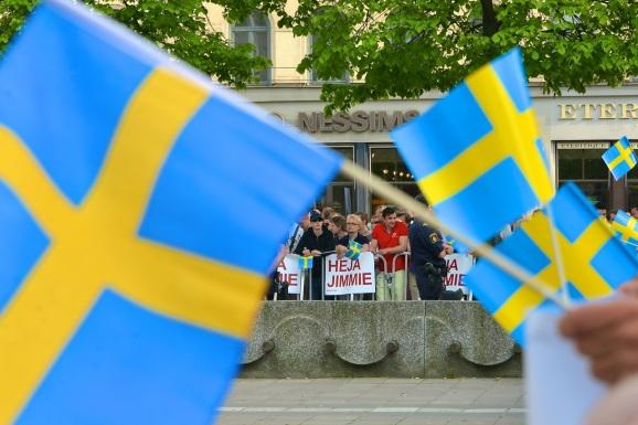 Simpatizantes del partido ultraderechista de Jimmie Åkesson en un mitin el pasado mes de mayo en Estocolmo | Fuente: Frankie Fouganthin
