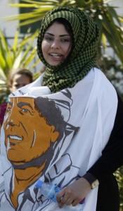 Manifestante en apoyo a Muamar Gadafi en Trípoli | Fuente: BRQ Network