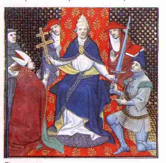 El Papa Urbano II convocando a la cristiandad medieval para poner en marcha las cruzadas contra los infieles y heréticos. Fuente: Geocities.