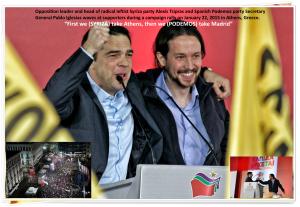 Alexis Tsipras (SYRIZA) y Pablo Iglesias (Podemos) hacen campaña por un movimiento europeísta alternativo desde el sur / Fuente: Fanis Xouryas