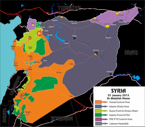 Mapa militar que muestra el estado del frente de guerra en Siria a fecha de enero de 2015. Fuente: Manaz.